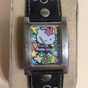 Sanrio Hello Kitty watch with black leather band